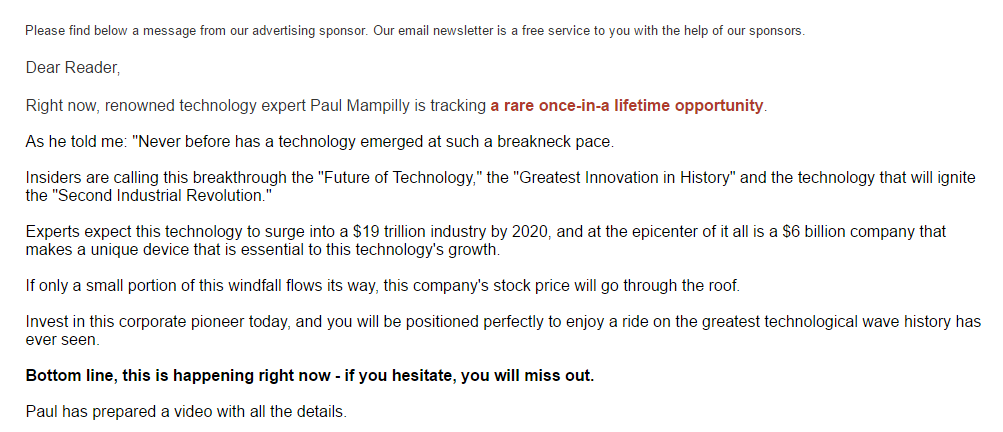 Scam Alert Paul Mampillys 7 Tech Stock Gamble And Other Risky